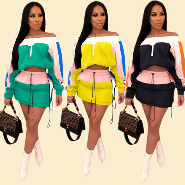 Color Match Patchwork Women Summer Tracksuit Sun-protective Outfits Long Sleeve Shoulder Out Top Jacket Short Dress 2 Piece Sportswear A3252