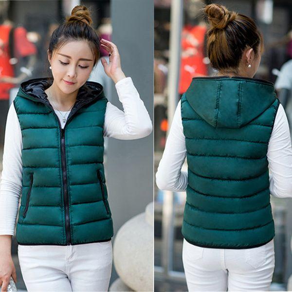 Жилет зимы женщин Большой размер Обе стороны носить с капюшоном куртка сгущаться Теплый жилет 4XL женский жилет фам