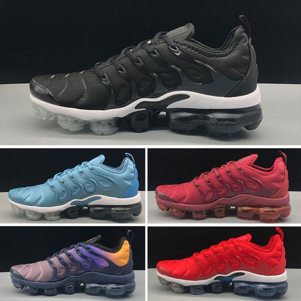 bajo costo nuevo estilo el más baratas Compre Nike Air Max Tn Plus 2018 Tn Plus Triple Negro Zapatillas Tn 2018  Sneaker Mejor Calidad Con Caja Moda Hombre Y Zapatos De Mujer Tamaño 36 46  ...