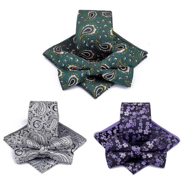 Moda hombre de poliéster Jacquard Tie 3pcs creativo anacardo flor aplastado empate bolsillo cuadrado Bowtie bufanda traje decoración TTA541