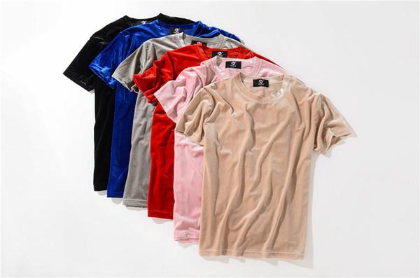 Moda uomo t-shirt estesa in velluto longline t-shirt hip hop donna justin bieber abiti rock tshirt nero grigio