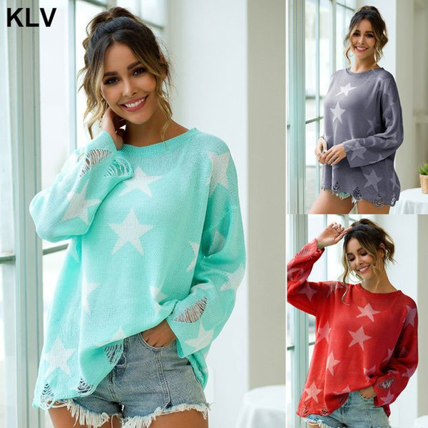 womens long sleeve round neck sweaters five-pointed star graphic knit loose pullover  ripped distressed hem casual jumper