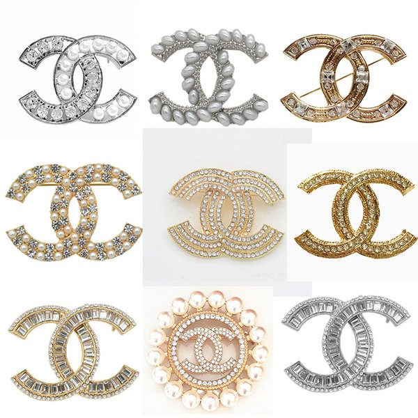 Famous Letter Brooches Crystal Brand Brooch Pin Corsage Luxury Brooches Women Fashion Jewelry Costume Decoration Hot Sale