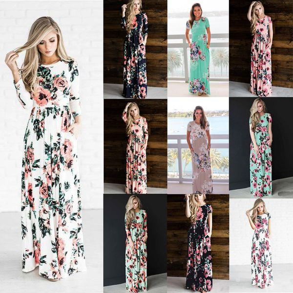 Длинные платья с цветочным принтом Эластичная талия Полиэстер с круглым вырезом Fashion S M L XL 2XL 3XL Макси платья с карманами
