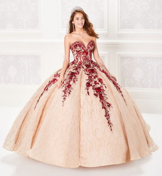 2019 Ball Gown Champagne Quinceanera Dresses Beaded Bodice Corset Red Appliqued Prom Dress Gorgeous Glitter Princess Gowns Lace-up