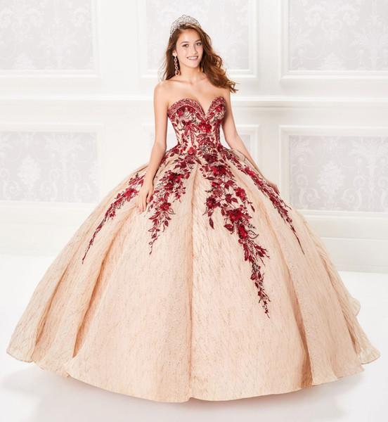 Compre Vestido De Fiesta 2019 Vestidos De Quinceañera Con Champán Corpiño Con Cuentas Corsé Vestido De Fiesta Con Apliques Rojos Vestidos De Princesa