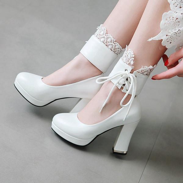 QianJiaoBaiHui Scarpe da donna stringate alla caviglia con lacci Avorio bianco Tacco spesso con tacco impermeabile Scarpe col tacco alto Pizzo Scarpe col tacco da donna