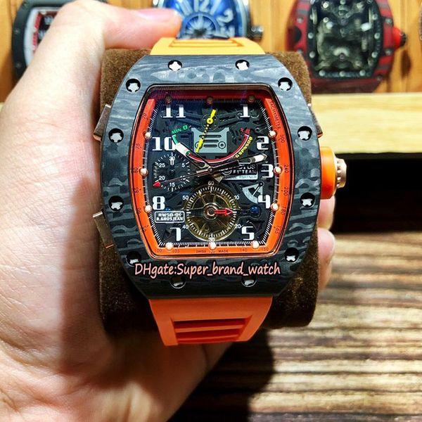 Top Versionm RM 50-01 LOTUS F1 TEAM NTPT Carbon fiber Case Tourbillon Dial Power Reserve RM50-01 Automatic Mens Watch Rubber Sport Watches