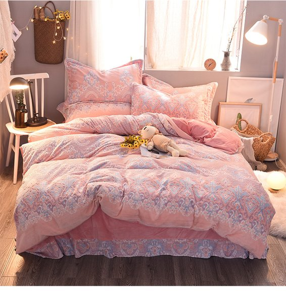 Cashmere Double-sided Coral Fleece Thick Pink Bedding Sets King Queen Size Winter Warm Princess Girls Duvet Cover Sets Bedding