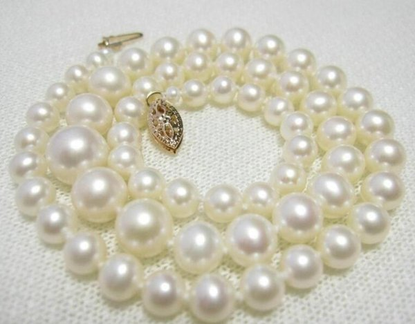 """Fine Graduated White 4.5-9 mm Akoya Pearl Necklace 15"""" 16"""" 17"""" 14k/20 Gold"""