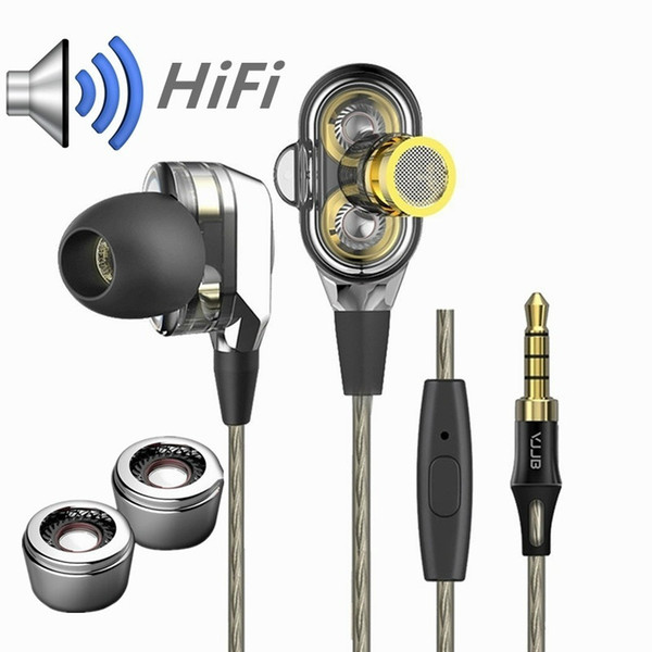 Dual Drive 4 Speaker Heavy Bass Hifi Earphone 3.5mm Headphone with Micphone for SmartPhones Tables Amp iPod
