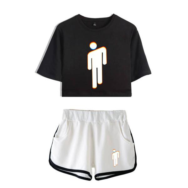 Fadun Tommy Billie Eilish Summer Kpops Women Two Piece Set Shorts And T-shirt Clothes 2018 Hot Sale Harajuku Print Plus Size Xxl J190511