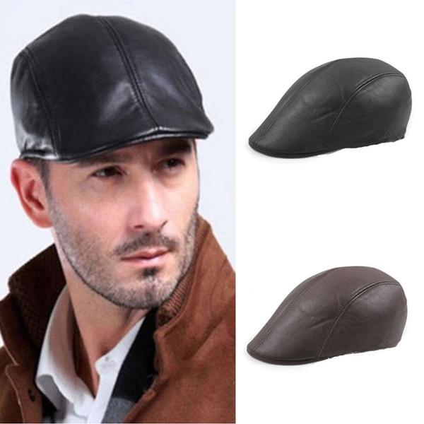 Mens Original Leather Flat Ivy Cap Women Newsboy Gatsby Bonnet Cabbie Beret Hat