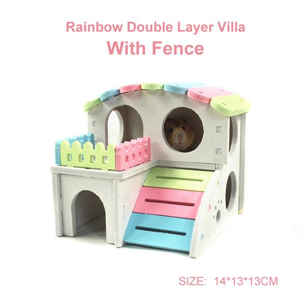 DIY ITALIQUE hamster Maison hamster Maison Lit double arc-en-couche Villa avec barrière Nest Hedgehog Guinée Castle Pig Toy 9 style