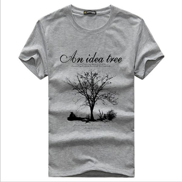 Été T-shirts pour hommes d'arbre imprimé hommes T-shirts manches courtes O-cou T-shirts Hauts Sport Blanc Noir Taille M-5XL