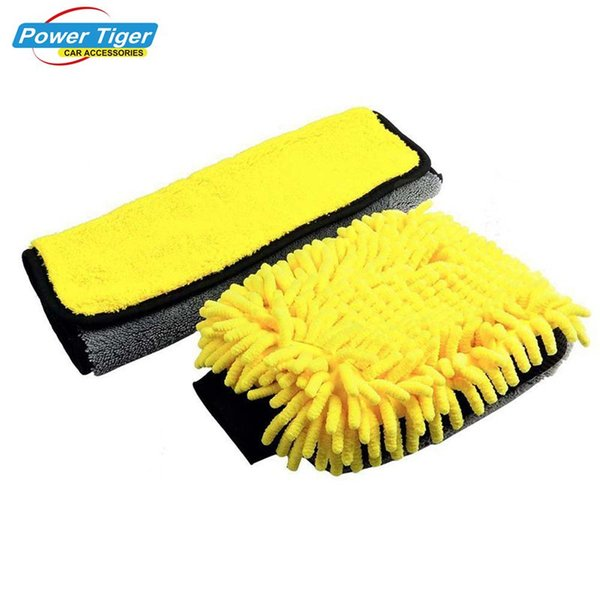 Microfiber Mitt Water Proof Car Wash Chenille Glove & Detailing Towel Multi function Auto Cleaning Wax Tool