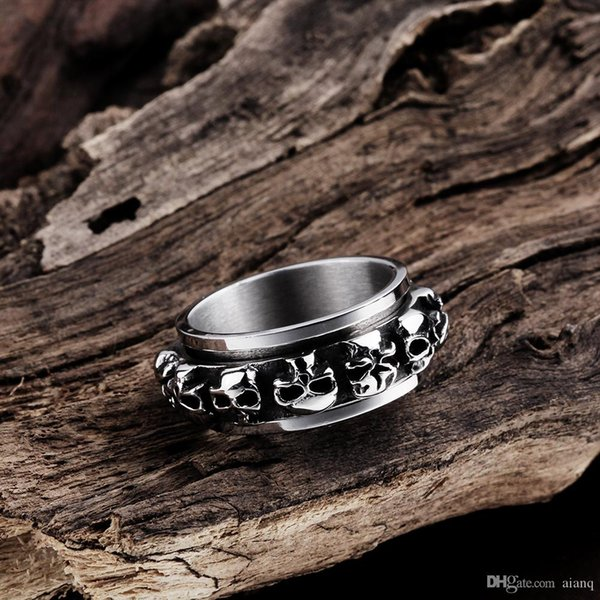 Hot Punk Style Retro Skull Titanium Steel mens Ring Harley Rings Fashion Figure Ring Black Wedding Bands Biker Rings Men Jewelry