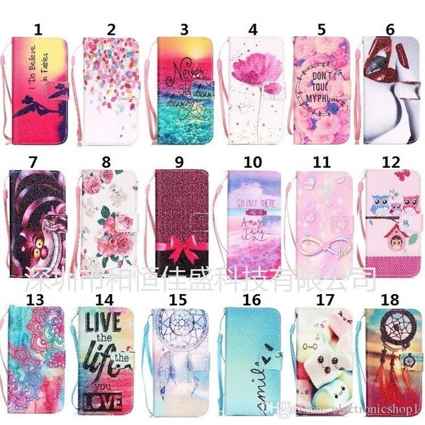 Cheap price Cool Multi style Cartoon colored leather cover mixing order wallet Card Slot Kickstand Case for iphone 5 6 7 for samsung s6 7 8
