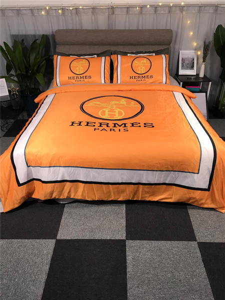 Orange With White Stripe Bedding Suit Cotton & Modal New Bed Cover Sheet Quilt Cover Pillowcase Sets 4 PCS