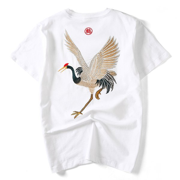 Chinese Style Fashion Embroidery Crane T Shirt Men 2019 Short Sleeve Slim Plus Size Hip Hop Streetwear Funny T-shirt Tops