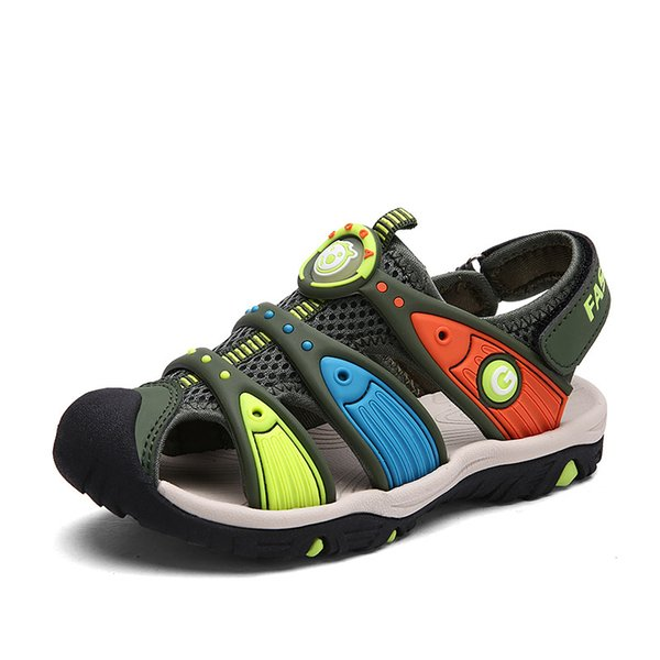 Summer Children Rain Beach Shoes Cut-outs Kids Flats Soft Anti-slippery Size 24-38 Vintage Footwear Shoes Kids Sandals For Boys Y19051602