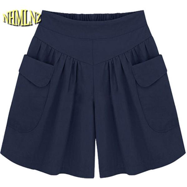 2019 Summer women's clothing latest fashion plus size loose shorts Casual wide leg chiffon Europe Large size women shorts OK728