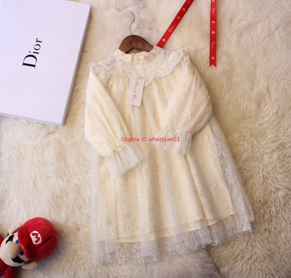 Girls dress kids designer clothing three-dimensional embroidery lace + cotton lining dress autumn fashion new dresses
