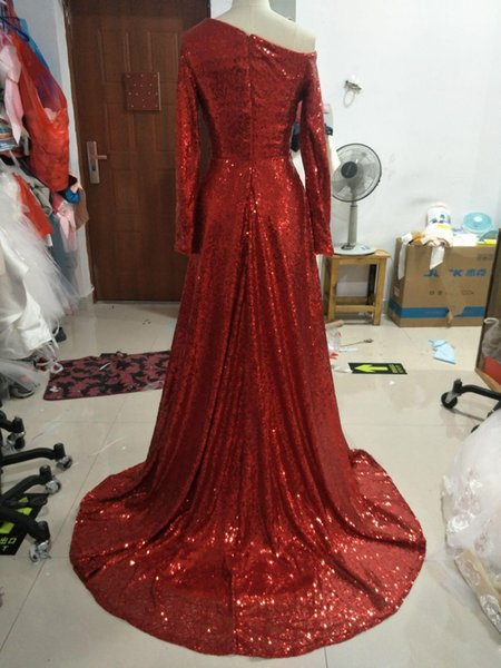 2020 cocktail latest red encryption sequins order Evening dress Yousef aljasmi Kim kardashian Empire V-Neck Sleeveless Pleats Floor-length