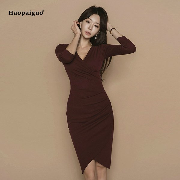 Plus Size Asymmetrical Dress Women Spring Burgundy Three Quarter Sleeve V  Neck Knee Length Elegant Office Dress Work Dresses Short Purple Dresses For  ...