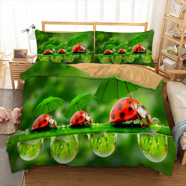 3d Ladybug Bedding set polyester Duvet Cover Bed Set Single Twin queen king size home textile