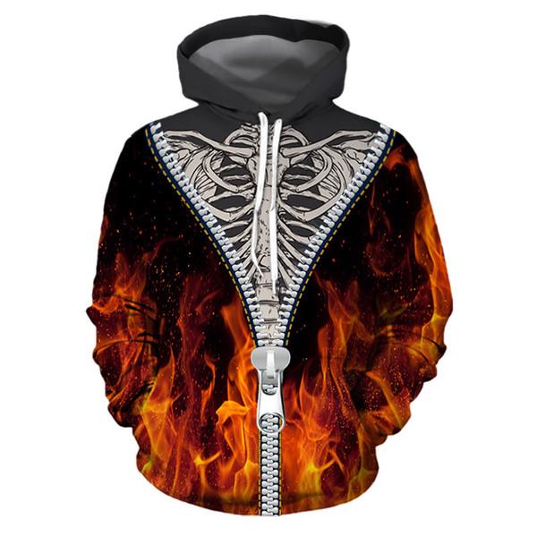 Дизайнерская Мода Осень-Зима Новый Хэллоуин Костюмы Элемент Ужаса Огненный Скелет 3d Принт С Капюшоном Воротник Свободная Пара Рубашки Пальто