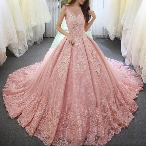 Vestido de fiesta rosa perla Vestidos de quinceañera Apliques Encaje Dulce 16 Vestido Escote redondo Vestido De Festa Corsé largo Tul Vestidos de baile formales