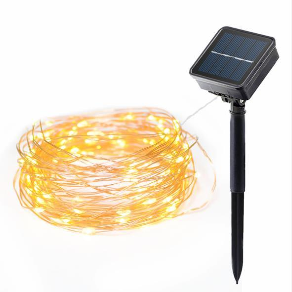 Warm White 100 LEDs Solar String Lights Coloured Lamp Decorative Lighting Indoor Garden Home Wedding Copper Wire String Lights