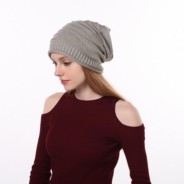 JAYCOSIN High Quality Fashion Design Winter Knit Slouchy Beanie Baggy Warm Soft Chunky Stripe Hat Caps Winter Hat For Women