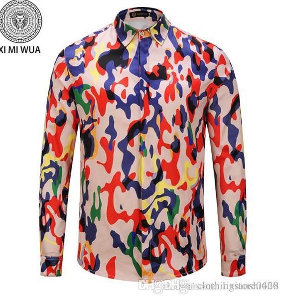 Camisas de moda para hombre Manga larga Camisa casual de color sólido 2018 Blusa nueva de invierno Cuello alto color mandarín OverShirtc146 de adolescente