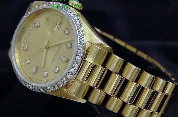 Brand New Quality Day-Date President 18k Yellow Gold Watch w/Gold Diamond Dial/Bezel Men's Sport Wrist Watches Automatic Mens Watch