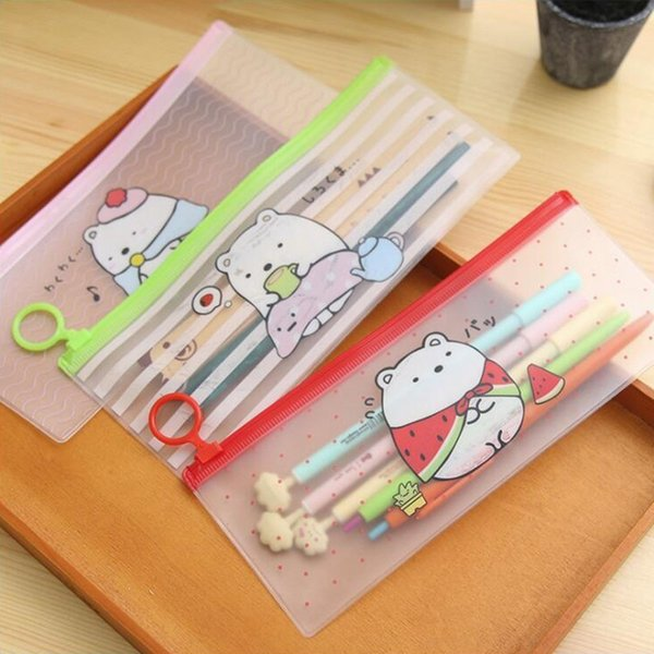 Colored Transparent Rabbit Pencil Case Office Stationery and School Supplies High Capacity Plastic Pencil Bag 1PCS