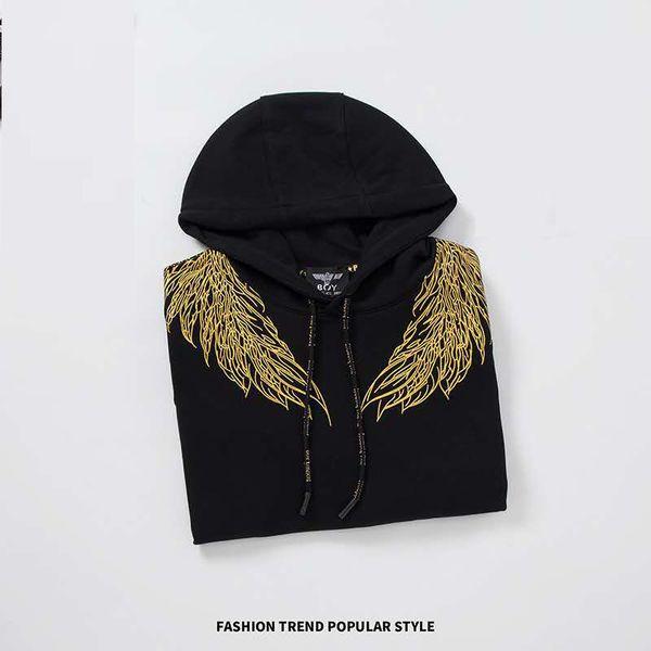 Designer asas menino dos homens de Hoodies 19FW New Angel Padrão Thicken Hip Hop Camisola marca de moda Classic Black Top Ouro Luxo Imprimir Hoodi
