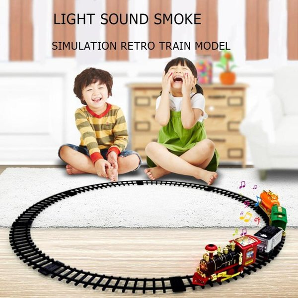 Classic Electric Train Set Dynamic Steam RC Track Kids Classical Train Set Simulation Model Toy Kit For Children