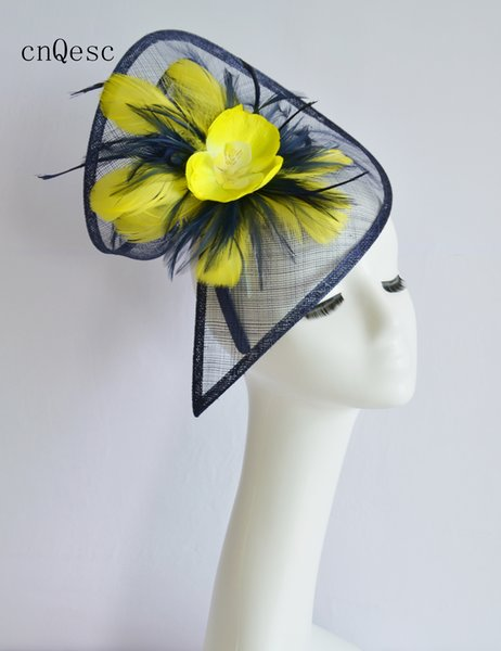 2019 Navy blue yellow sinamay hat feather fascinator for wedding bridal shower mother of the bride w/silk flower