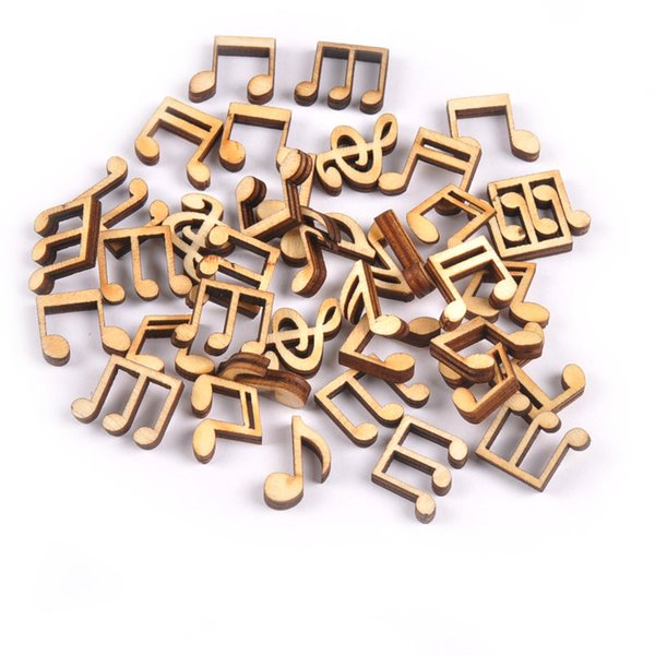 100Pcs Home Decorations Mix Cute Music Notes Handcrafts Wooden Decoration Scrapbooking For DIY Accessories 14x15mm free shipping