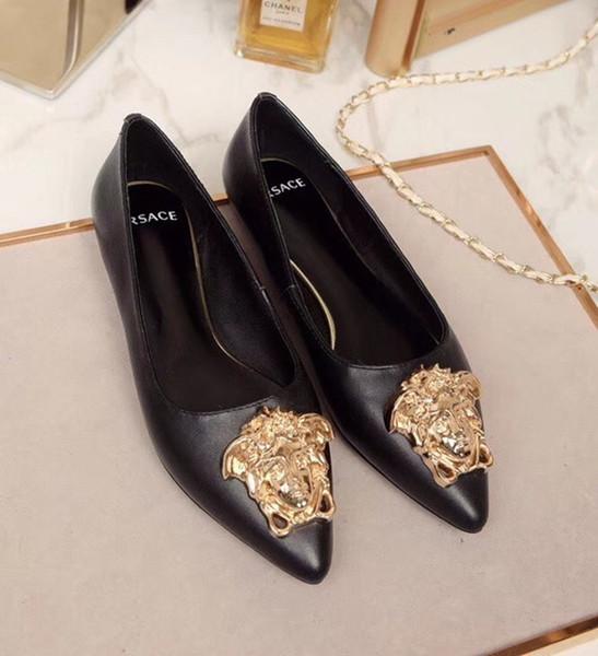 Zapatos de mujer de marca Medusa pisos negros de cuero genuino del dedo del pie puntiagudo bombas mujer vestido de fiesta zapatos al por mayor