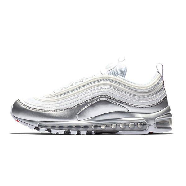 Acquista Nike Air Max 97 Shoes Hot Anniversary Edition Scarpe Da Corsa Da Uomo Donna Giallo Triplo Nero Bianco Metallizzato Oro Argento Pallettone Da