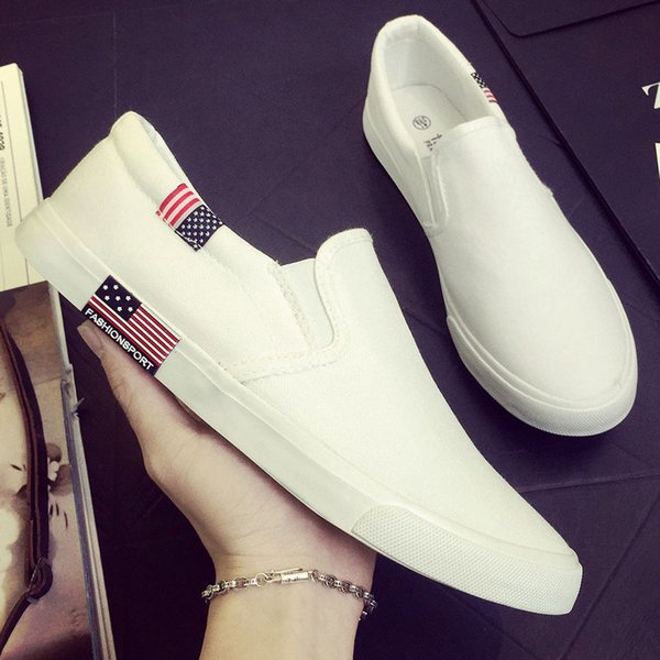 Juyouki Summer Spring Men's Casual Shoes Fashion American flag Canvas Shoes Sneakers Trainers Lazy Flats Men Loafers