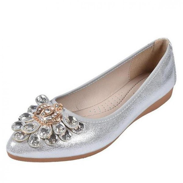 Gold Silver Luxury Crown Shoes Casual Woman Pointed Toe Crystal Flats Rhinestone Loafers Women Soft Comfortable Lady Shoes 34~43