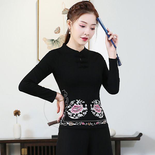 KYQIAO blusa feminina collier ethnique millésime automne traditionnel des femmes shirt chinois mandarin blouse broderie noir rouge vert