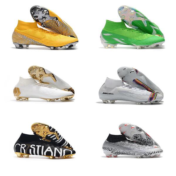 Hot Mercurial Superfly VI 360 Elite FG KJ 6 XII 12 CR7 Ronaldo Neymar Mens Women Boys High Soccer Shoes Football Boots Cleats Size US 3-11