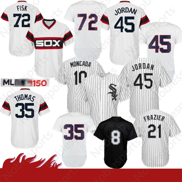 cheap for discount a4c00 14141 2019 Stitched 10 Yoan Moncada Chicago White # Sox Baseball Jersey 8 Bo  Jackson 45 Michael 72 Fisk 21 Frazier 35 Frank Thomas 79 Jose Abreu From ...