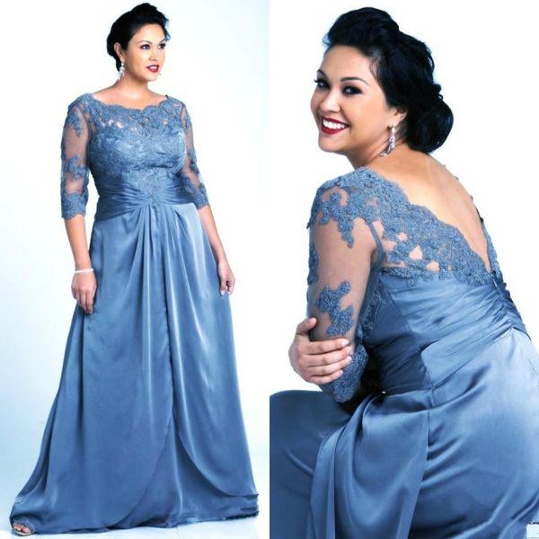 Plus size azul mãe dos vestidos de noiva com 3 4 mangas colher de renda do laço de cetim mulheres vestidos de noite formais