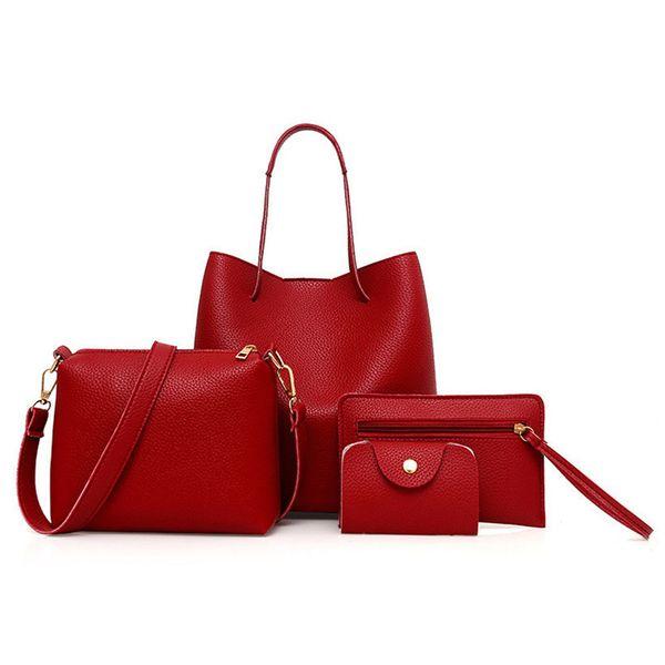 2019 4pcs mujeres patrón bolso de cuero + bandolera + bolsa de mensajero + tarjeta paquete patrón suave Pu cuero mujeres bolso